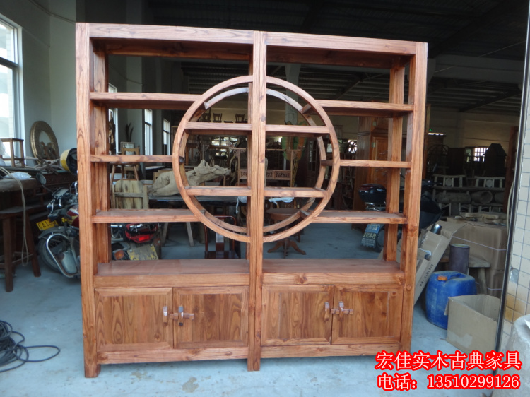 实木中式玄关隔断 榆木博古架多宝格 原木书柜 货架展示架置物架转发