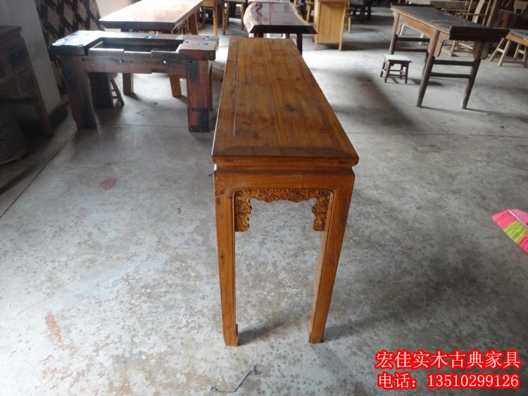 榆木案台供桌 实木中式家具 明清古典条案 原木平头神台长条几桌