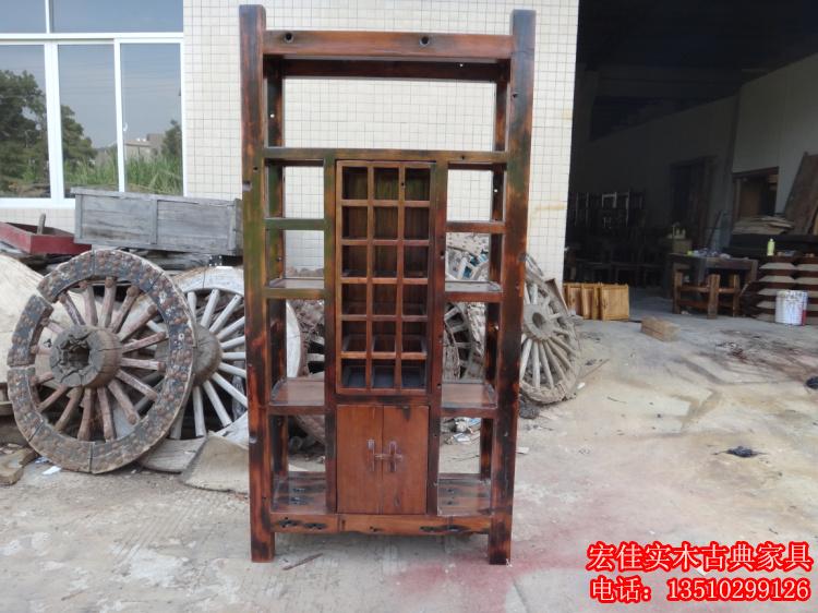 实木酒柜展示柜 老船木酒架 原生态酒庄会所酒吧台 创意个性家具