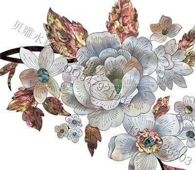 欧式套房家具水移画茶几贝雕水移画边花角花
