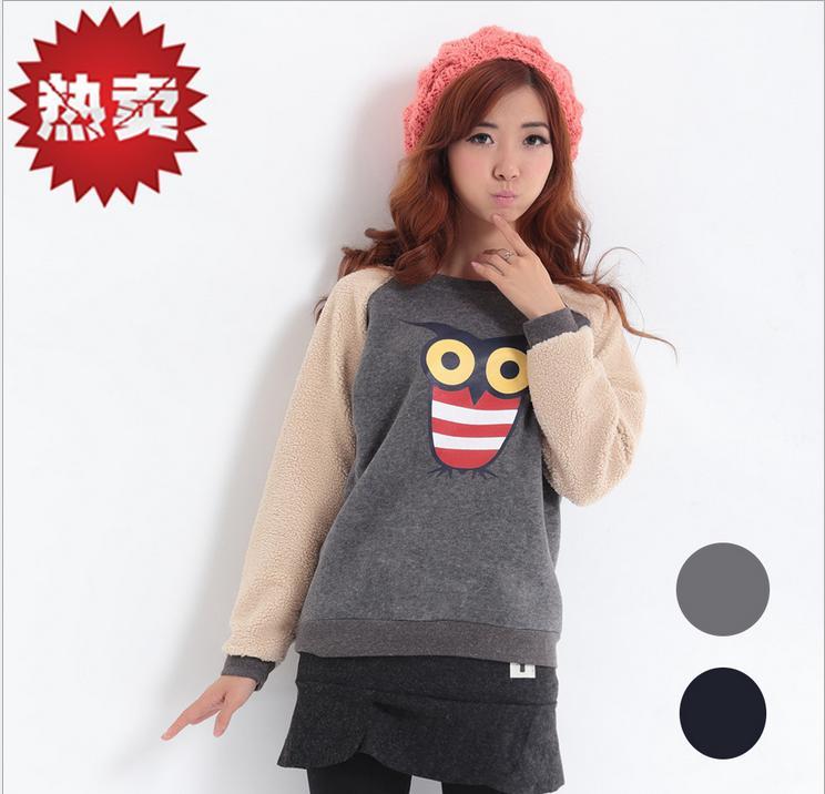 2014新款韩版卫衣卡通加厚抓绒套头卫衣批发女装生产厂家现货供应