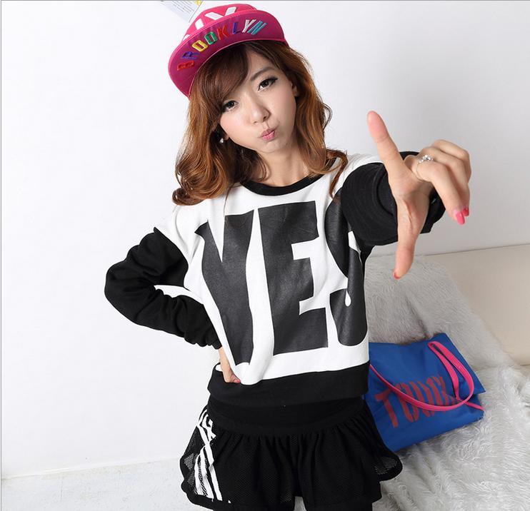 2014春季新款日韩卫衣YES字母长袖圆领加绒加厚女式卫衣厂家批发