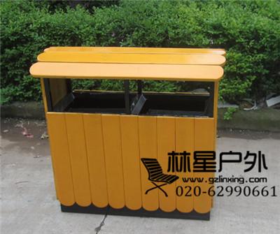 环保分类防腐木垃圾桶