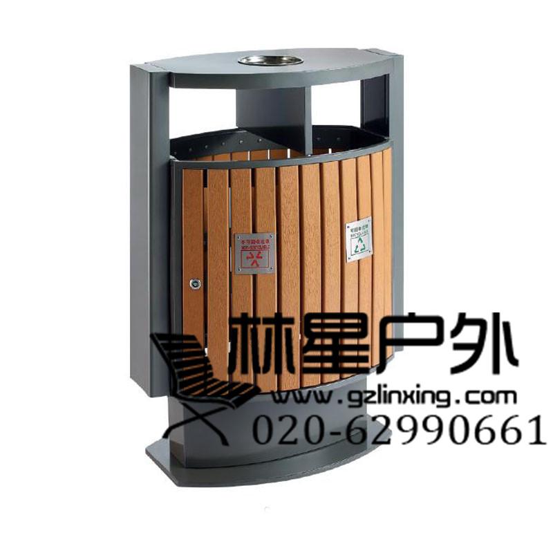 防腐木垃圾桶,户外双桶环卫分类果皮箱5006