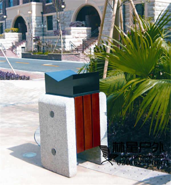 防腐木垃圾桶,户外单桶环卫分类果皮箱5036