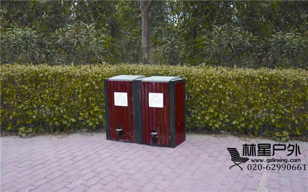 室外防腐木垃圾桶,户外双桶环卫分类果皮箱5051图片