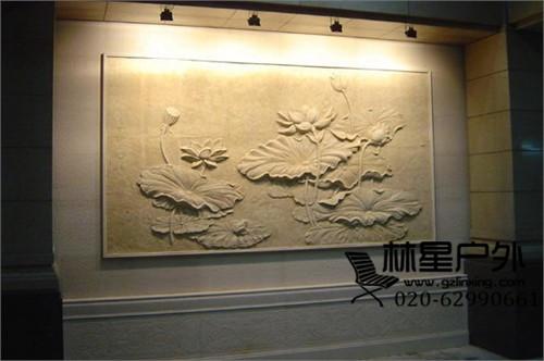 中式仿砂岩荷花浮雕工艺品