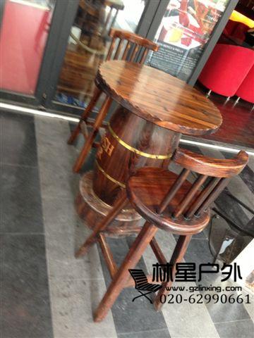 中式酒桶桌创意桌椅,火烧木酒吧家具1049