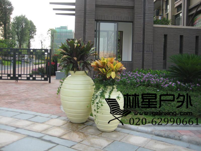 彩色玻璃钢花盆花钵8038
