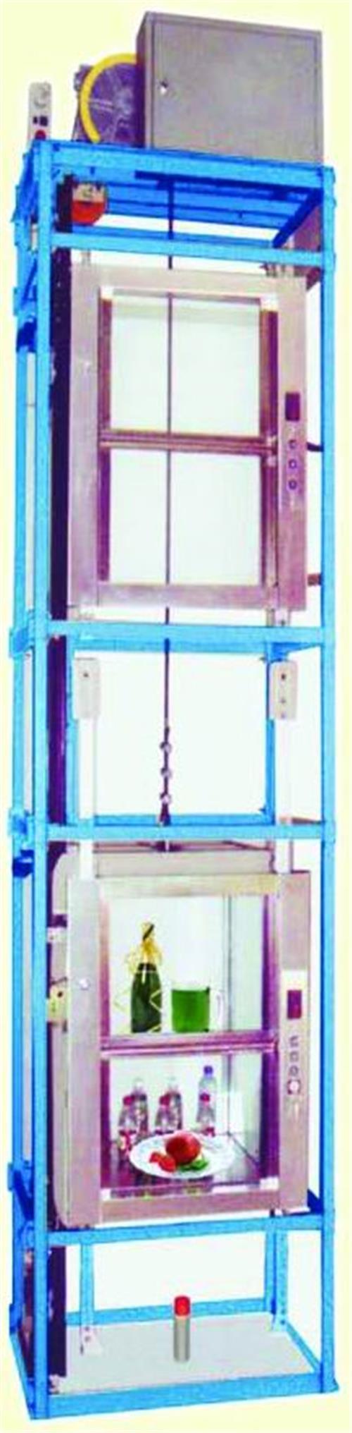  电 梯 结 构    100kg—200kg杂物电梯整体为框架结构,无需