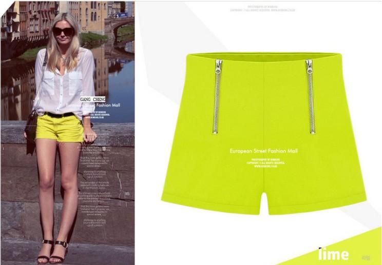 2013欧美风新款,双拉链女士休闲短裤