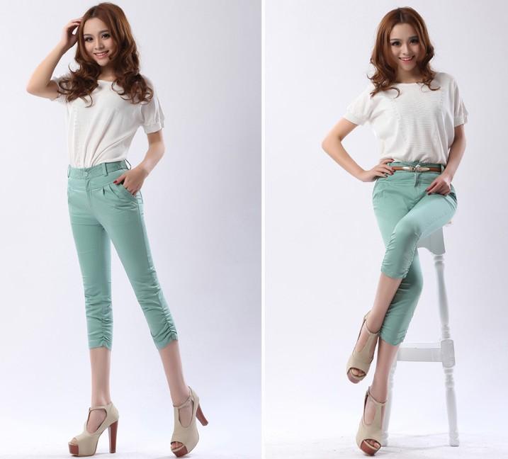 广州2013夏季新款,女休闲裤,韩版女七分裤,抽褶显瘦小脚裤