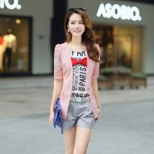 欧根纱绣花 泡泡袖中袖修身显瘦 时尚韩版外套西装