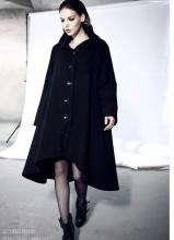 2013秋冬新款女装0002黑色羊绒毛呢大衣长款大码