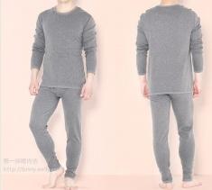 冬装新款男装保暖内衣套装 纯色圆领 竹炭纤维加厚不倒绒