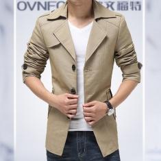 欧文福特 2014新款正品男装风衣单排扣修身潮风衣