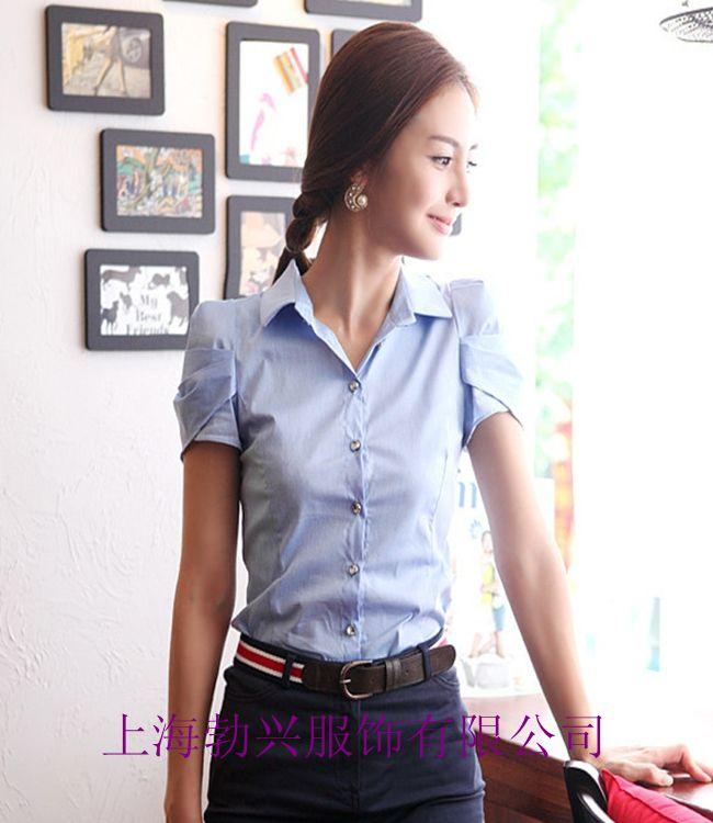 上海职业衬衫厂 定制定做女士衬衫 短袖衬衫