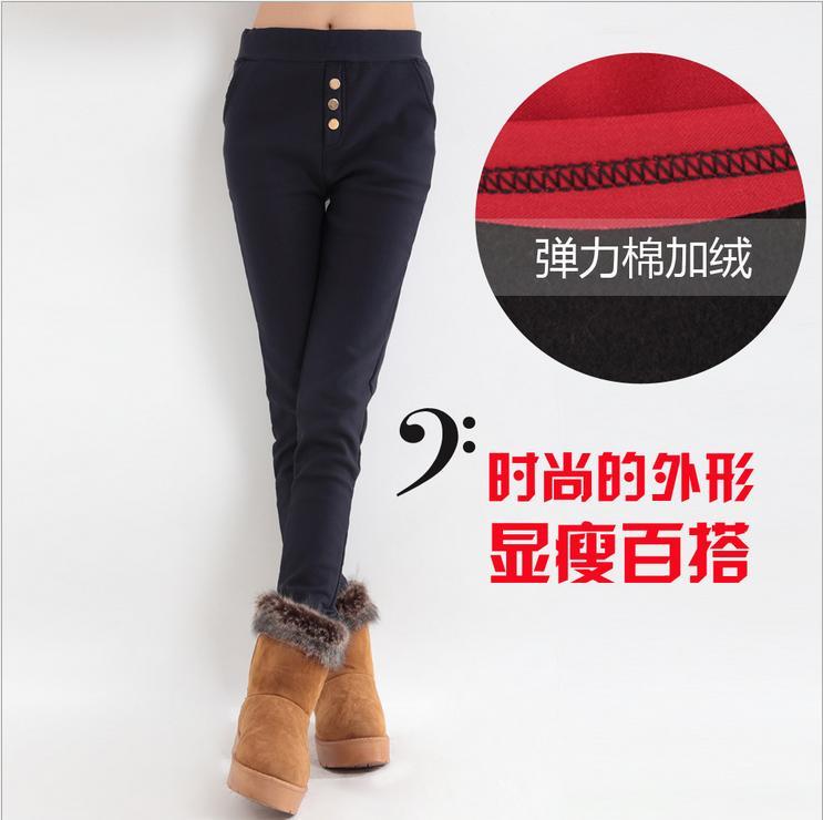 2014新款高弹力棉加绒女士黑色打底裤厚打底裤批发厂家直销供应