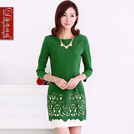 东洲雅莉大码淑女包臀甜美小黑裙OL气质职业雪纺修身优雅连衣裙绿