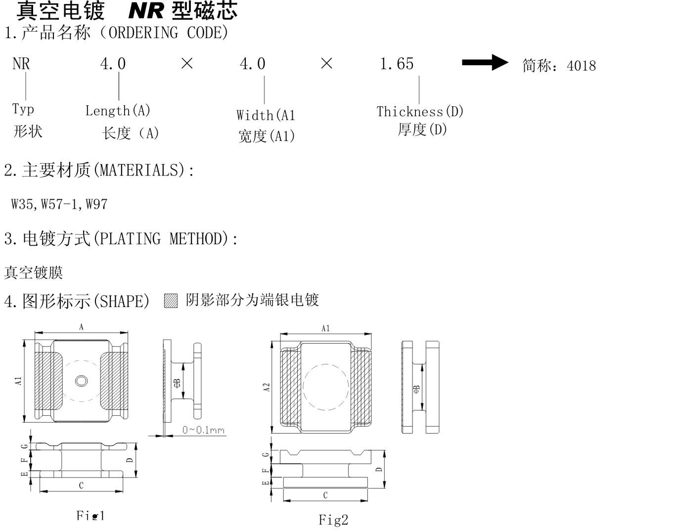 真空电镀 NR型磁芯