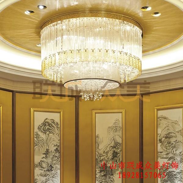 酒店会所包厢别墅非标工程灯定制欧式现代风水晶吸顶大型吊灯灯具